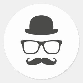 Mycket engelsk Moustache Runt Klistermärke