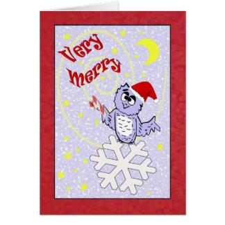 Mycket glad Santa ugglajul Hälsningskort