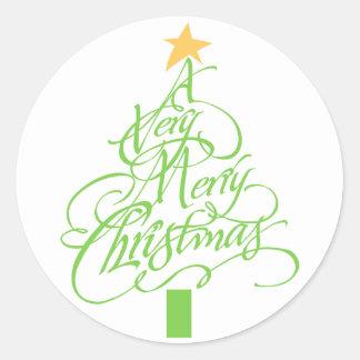Mycket god jul runt klistermärke