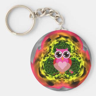 Mycket gullig ugglahjärta knäppas Keychain Rund Nyckelring