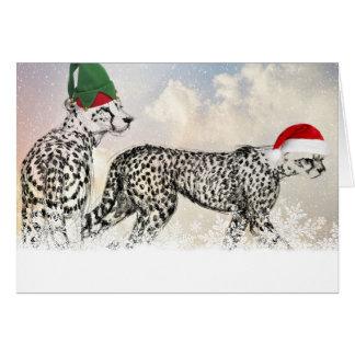 Mycket jul för en Cheetah Hälsningskort