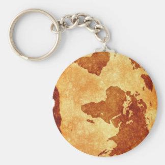 Mycket kall antik världskarta rund nyckelring
