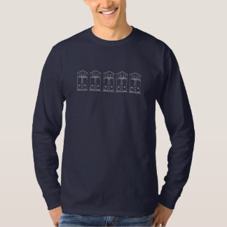 Mycket liten blått och vit för husritningteckning t-shirt