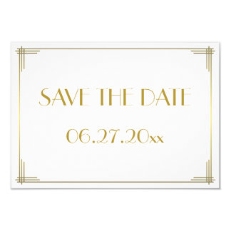 Mycket liten Gatsby guld- art décospara 8,9 X 12,7 Cm Inbjudningskort