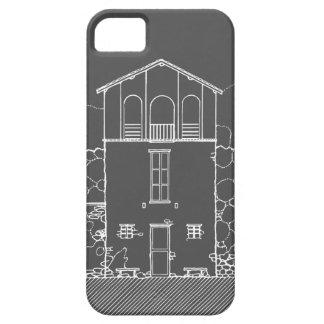Mycket liten husgrå färg och svart tavlateckning iPhone 5 fodral