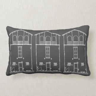 Mycket liten husgrå färg och svart tavlateckning lumbarkudde