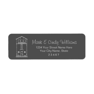Mycket liten husgrå färg och svart tavlateckning returadress etikett