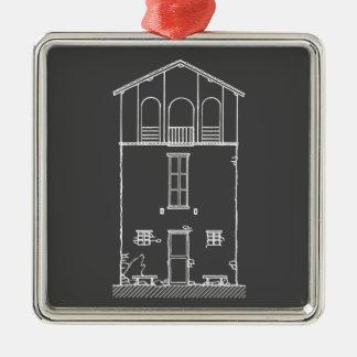 Mycket liten husgrå färg och svart tavlateckning silverfärgad fyrkantigt julgransprydnad