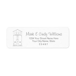 Mycket liten hussvart & teckning för returadress etikett