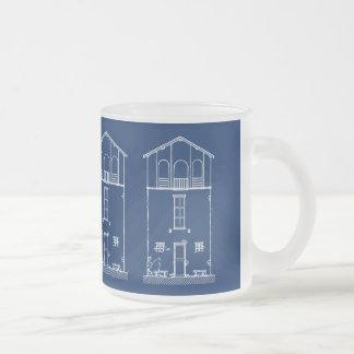 Mycket liten teckning för stil för husblått- & frostad glas mugg