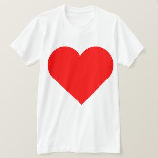 Mycket stor röd design för hjärtadubblatryck tshirts
