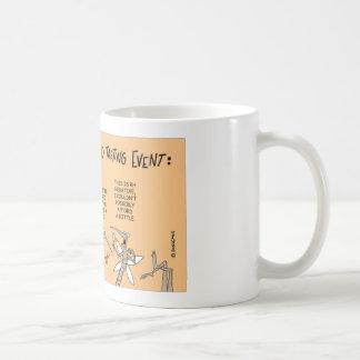 Myggablod som testar händelse kaffemugg