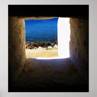Mykonos Grekland, grekiska öar, affisch