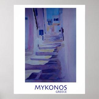Mykonos Grekland - Retro stilaffisch Poster