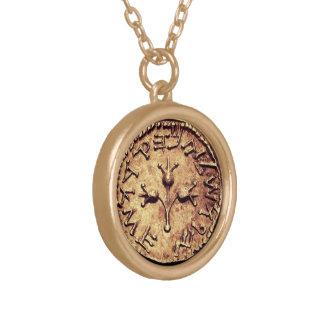 Myntar mörkt guld för det judiska arvet halsbandet guldpläterat halsband