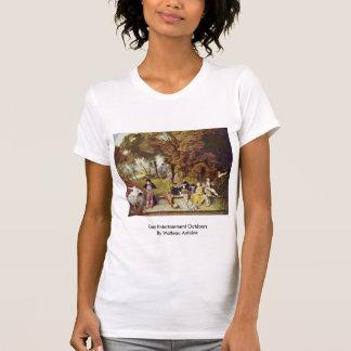 Mysigt underhållning utomhus vid Watteau Antoine T Shirt