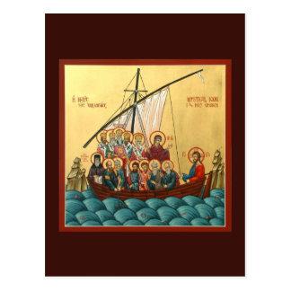 Mystisk symbol av det heliga kyrkliga bönkortet vykort