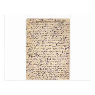 Mystiskt post- kort 1902 för handstil (Yiddish?)
