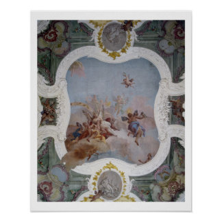 Mythological plats med zodiacen (frescoen) poster