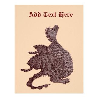 mytisk gullig röd drake och fantasivarelsekonst brevhuvud