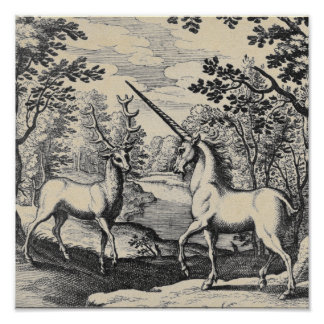 Mytisk Unicorn i skogen Poster