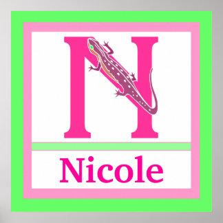 N är för för väggkonst för Newt och för flicka kän Print