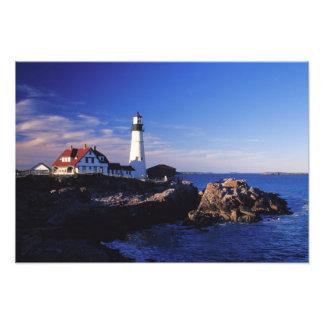 NA USA, Maine. Portland Head lighthouse. Fototryck