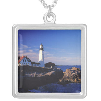 NA USA, Maine. Portland Head lighthouse. Silverpläterat Halsband