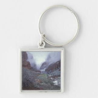 NA USA, Utah, Zion NP, vårsnöstorm, Fyrkantig Silverfärgad Nyckelring
