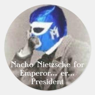 Nacho Nietzsche för president Runt Klistermärke