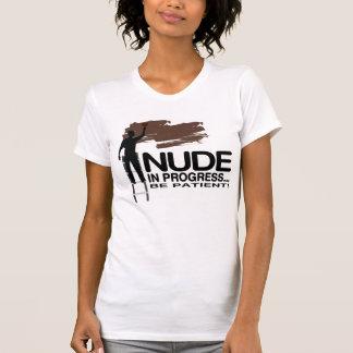 Näcka pågående/svarten flår/T-Sh roliga kvinnor T Shirts