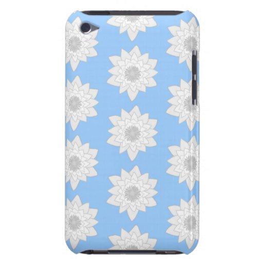 Näckrosblommamönster. Blått, vit och Gray. Case-Mate iPod Touch Case