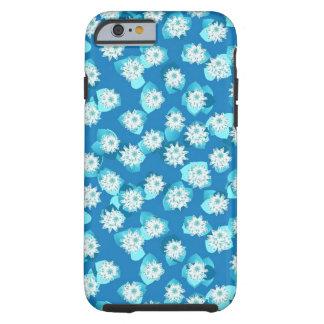 Näckrosmönster, turkos, blått och vit tough iPhone 6 case