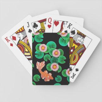 Näckrosor och Koi fisk som leker kort Spelkort