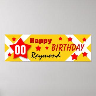 NÅGON GULD för baner för ÅRSfödelsedagstjärna och Poster