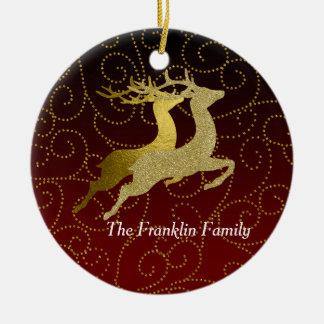 Någon helgdag för ren för färgsvartOmbre två guld Rund Julgransprydnad I Keramik