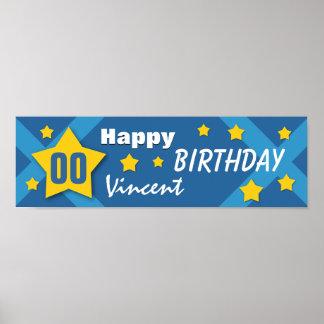 NÅGOT blått och guld V03C för baner för Affischer
