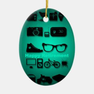 Något gillar du -1 - den lyckliga pensionen - ovalformad julgransprydnad i keramik