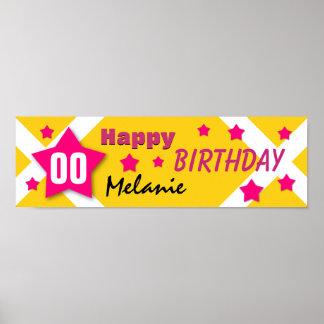 NÅGOT GULD- baner för ÅRSfödelsedagstjärna och Affischer