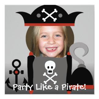 Något liknande för piratflickaparty som en pirat fyrkantigt 13,3 cm inbjudningskort