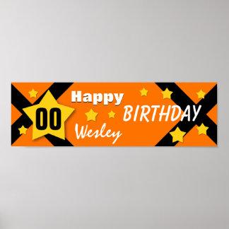 NÅGOT orange baner för ÅRSfödelsedagstjärna och Affischer