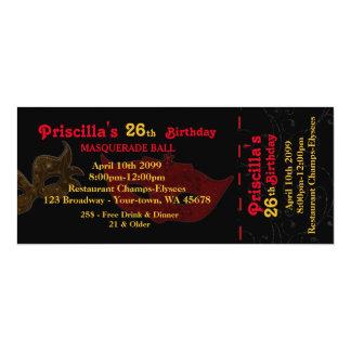 några åldras, 26th, inbjudanbiljettstylen, 10,2 x 23,5 cm inbjudningskort