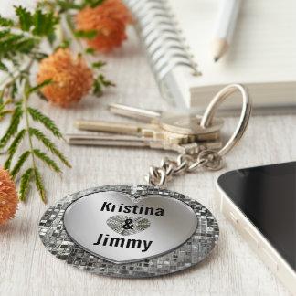 Några namn på Sparkling silverhjärtnyckelring Rund Nyckelring