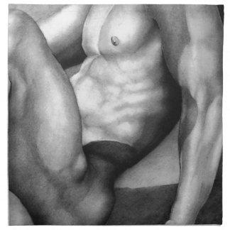 Nakenstudie-manlig för konst för SERVETTER för