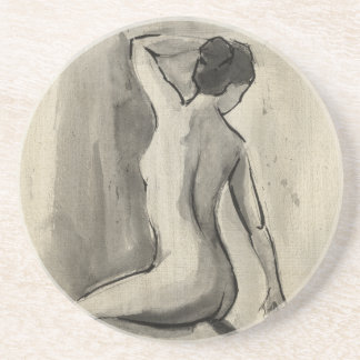 Nakenstudien skissar av kvinnligt förkroppsligar glasunderlägg