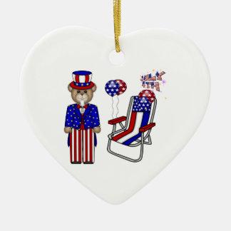 Nallar 4th av den Juli stolen Julgransprydnad Keramik