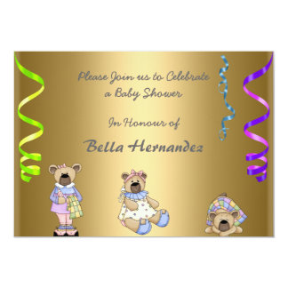 Nallar för baby showermeddelandeparty 12,7 x 17,8 cm inbjudningskort