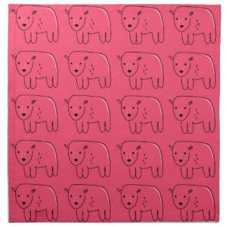 Nallar målad rosa söt design tygservett