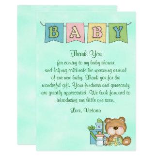 Nalle för baby showergenderneutralt 12,7 x 17,8 cm inbjudningskort