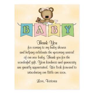 Nalle för baby showergenderneutralt vykort